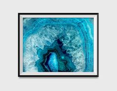 Blue Agate Slice Watercolor Wall Art Print by QuantumPrints