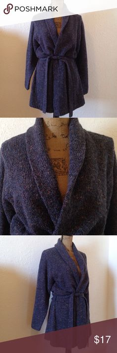 Cozy Dress Barn belted cardigan acrylic wool blend Super cozy belted cardigan in a purplish blue color with flecks. Great condition; re-posh... I wanted something more oversized. Great sweater for fall! Comes with matching belt. Poly/ acrylic blend with 5% wool. Priced to sell! Dress Barn Sweaters Cardigans