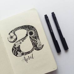 Bullet journal monthly cover page, April cover page, patterned font, flower drawing. | @juian.k