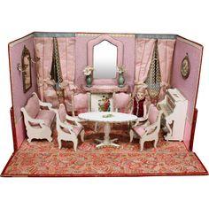 Elegant Antique French Miniature Folding Room for your Mignonettes Antique Dollhouse, Dollhouse Dolls, Antique Dolls, Dollhouse Ideas, Doll Display, Miniature Rooms, Image Cat, Christmas Villages, Bisque Doll