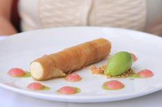 Montreal Eats: Dinner at Toqué! rhubarb cannolo  with honeydew sorbet
