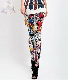 Legging estampada com design de quadrinhos Pop Art inspirados no famoso pintor Roy Lichtenstein.