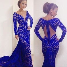 Sexy Evening Dress 2016 New Arrival V Neck Long Sleeves Royal Blue Unique Lace Mermaid Floor Length Prom Dresses Party Dresses -in Evening Dresses from Weddings & Events on Aliexpress.com | Alibaba Group