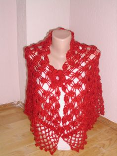 Red silvery mohair  shawl/Crochet red by redrosewholesaler on Etsy, $69.90