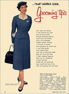 Neatly cut uniform and strict set of guidelines they were expected to follow. 1950s flight attendants.