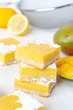 Tart Lemon Mango Bars // Perfectly tart and sweet mango bars with a shortbread cookie crust are the perfect way to celebrate the summer and bring for parties and potluck snacks! Make with fresh mango Mango Dessert Recipes, Mango Recipes Vegan, Recipes With Mango, Shortbread Cookie Crust, Weird Food, Homemade Desserts, Baking Recipes, Kitchen Recipes, Recipes