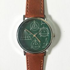 Geometry Formulas and Equations on Board  Watch , Vintage Style Leather Watch, Women Watches, Mens Watch, Unisex , Boyfriend Watch,