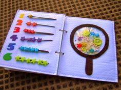 "Counting and ""I Spy"" pages for quiet book inspiration / beads / numbers / magnifying glass"