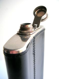Vintage leather-bound flask