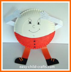 Other Humpty Dumpty option using paper plates. cut out construction paper arms and legs, hands, and shoes