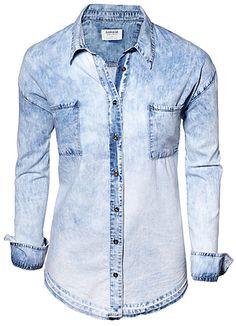 ACID WASH DENIM BLOUSE | Dynamite.ca    Needdddd Denim Button Up, Button Up Shirts, Denim Blouse, Cute Shirts, Online Shopping Clothes, My Wardrobe, Clothes For Women, My Style, Womens Fashion