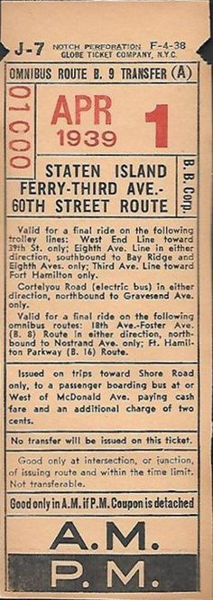 Bus transfer, Brooklyn Bus Corp. (subsidiary of Brooklyn & Queens Transit Corp.) (1939)