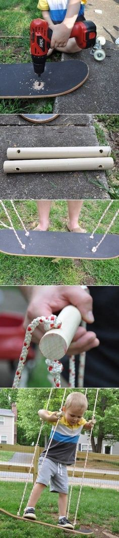 How to make a Skateboard Swing.how my husband will make the skateboard swing. Make A Skateboard, Skateboard Swing, Skateboard Design, Outdoor Projects, Diy Projects, Garden Projects, Garden Ideas, Crafts For Kids, Diy Crafts
