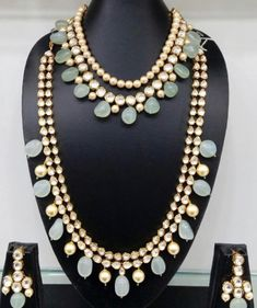 Light Green and Pearl Kundan Necklace Set