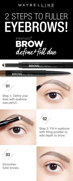 Get fuller, smoother looking brows using the Maybelline Brow Define + Fill Duo! First, define the outline of your eyebrow using the micro fine wax pencil. Next, use the powder side to fill the brow and add depth. Then voila! Fuller, natural looking brows. Click through to find your perfect brows using the Brow Play Studio by Maybelline!