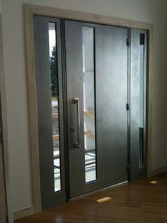 Sguare Modern Entrance Doors by Arttig - modern - front doors - chicago - Arttig Artistic Creations & Contemporary Door M100A with M10 pull handles. Steel Grey finish ...