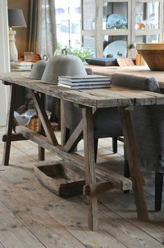wooden side table and great floors for our living room. Rustic Console Tables, Rustic Table, Rustic Sofa, Wooden Console, Wooden Sofa, Wooden Side Table, Rustic Elegance, Cool Ideas, Rustic Interiors