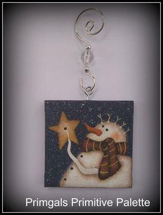 Mini Canvas Snowman Star Ornament