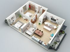 Two bedroom apartment design ideas two bedroom interior design interior des Small Modern House Plans, 3d House Plans, Budget Bedroom, Living Room On A Budget, Bedroom Ideas, Apartment Interior, Apartment Design, Two Bedroom Apartments, Bed Rooms