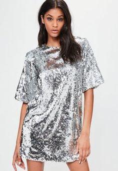 Londunn + Missguided Silver Sequin Mini Dress