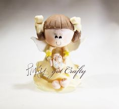 Yellow Angel girl with sheep by PinkyGotCrafty  -   cold porcelain, embellishment for rosaries, key chains, favors or souvenirs for baby showers, birthdays, birth announcements, first communions.. or any other occasion or craft!
