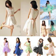 2014 Women summer Korean style ruffles Chiffon Mint Dress 8 colors flare Beach dress with underskirt and Waistbelt  US $11.80