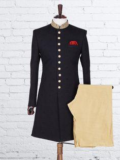 raw silk black indowestern sherwani with collar work Sherwani Groom, Mens Sherwani, Wedding Sherwani, Tuxedos, Engagement Dress For Groom, Wedding Dress Men, Indian Groom Wear, Indian Wear, Mens Ethnic Wear