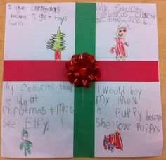"""4 square Christmas writing: I like Christmas because; My favourite Christmas character is; My favourite thing to do at Christmas time is; I would buy ? a ? because. I used 11 x 11"""" white squares and we glue on 1"""" strips of red and green for ribbons and a bow to top it off!"""