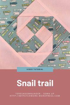 Snail trail quilt block – video tutorial (Sewn up, TeresaDownUnder) Quilting 101, Quilting Tutorials, Quilting Projects, Quilting Designs, Sewing Tutorials, Sewing Projects, Quilt Block Patterns, Pattern Blocks, Quilt Blocks