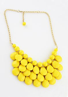 Charming Style Shine Yellow Beads Necklace - Sheinside.com $10