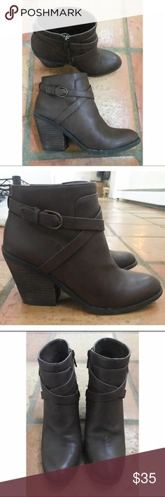 Lucky Brand booties Very cute and trendy! The heel is about 3 inches tall, but they're very comfortable! Lucky Brand Shoes Ankle Boots & Booties