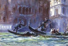 Festa Della Regatta  John Singer Sargent -- American painter   c.1903  Private collection  Watercolor on paper and oil on glass  (The grand canel)
