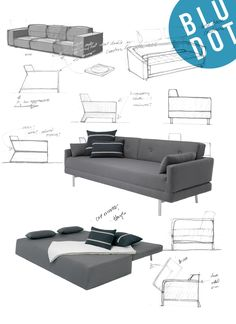 One Night Stand Sleeper Sofa folds down into a queen size sofa bed. Modern sleeper sofa designed by Blu Dot. Shop modern sofas and sofa beds at Blu Dot. Folding Furniture, Space Saving Furniture, Sofa Furniture, Furniture Design, Furniture Ideas, Furniture Removal, Furniture Assembly, Furniture Storage, Cheap Furniture