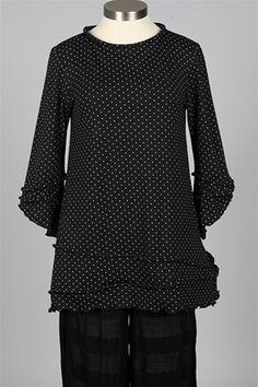 Giselle Shepatin - Polka Dot Blouse - Black & Grey