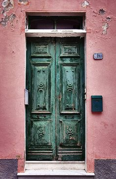 Liguria, door, old, green, decay, walls, beauty, lovely, charming, architechture, photograph, photo