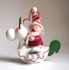 Santa Riding a Unicorn Tree Ornament, via Etsy. Christmas Unicorn, Christmas 2019, Wooden Christmas Trees, Christmas Tree Ornaments, Pink Cheeks, Party Themes, Red And White, Santa, Wonderful Time