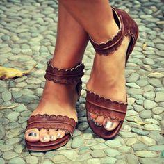 Frauen Kunstleder Niederiger Absatz Sandalen Sandalen Schuhe