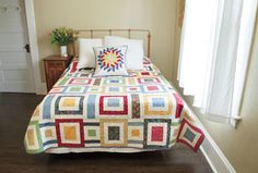 Relax with this simple and folksy bed quilt. With its attractive patchwork-like quality, it might be hard to keep it anywhere but your own bedroom!