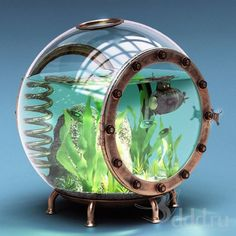 Must Have Fish Products For All Aquarium Lovers! - Spiffy Pet Products ♥ Pet Fish Stuff ♥ This small aquarium would be perfect for some underwater plants. Steampunk Heart, Style Steampunk, Steampunk House, Aquarium Design, Steampunk Bedroom, Cool Fish Tanks, Underwater Plants, Amazing Aquariums, Pet Fish