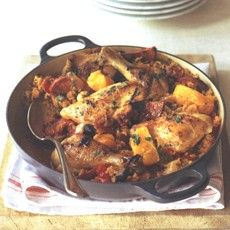Chicken Basque - honestly we have this about once a week in some form or another.  I don't use the wine, just extra stock, because the kids don't like the taste of it.  It's good with or without!