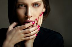 neon pink + black french mani
