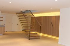 Floating stairs are stunning. SILLER offers a choice of self-supporting floating stairs in many materials like wood, glass, concrete, corian and acrylic. Suspended stairs which seem to be floating provide a certain sense of magic. Open Stairs, Glass Stairs, Glass Railing, Cantilever Stairs, Floating Staircase, Living Room Inspiration, Modern Architecture, Interior, Furniture