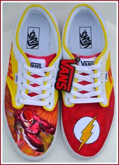 Hand Painted Mens Shoes Painted Shoes The Flash by PricklyPaw, $87.50 #SuperRT #Artisanbot #bacon