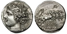 Sicily, Syracuse, Fifth Democracy (214-212 BC). Silver 8 litrae. Head of Kore left, wreathed with grain, in triple pendant earring & [necklace], small owl standing left behind neck / SURAKOSIWN, Nike driving fast quadriga right, ARK monogram above, AI under horses' forelegs, tiny LY between double exergual lines. Burnett D53, Luynes 1395, BMC 658.