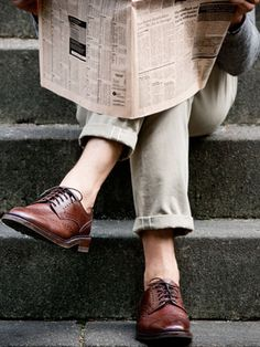"""How long should trousers be? the """"proper"""" length is no break, especially with a slim-cut trouser. Your pant leg should hang close to your ankle even as it exposes a bit of your sock (or bare ankle) when you stride. You can go a bit shorter with chinos or jeans. www.parkandbond.com"""