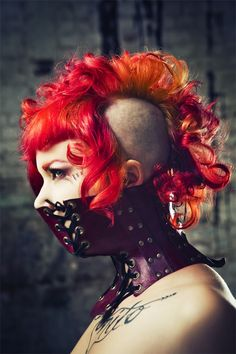 red,orange,yellow colorful punk goth shave curly bang mohawk hair hairstyle hardcore #alternative #model