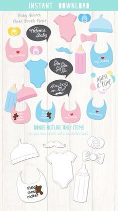 Bebé ducha PhotoBooth apoyos imprimible por UponATimeDesigns