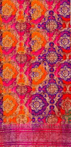 Printed and resist dyed, beautiful colours and golden touch Textures Patterns, Color Patterns, Print Patterns, Textile Design, Fabric Design, Inchies, Indian Textiles, Indian Fabric, Sari Fabric