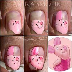 Pop Art Nails, Pink Nail Art, Disney Acrylic Nails, Best Acrylic Nails, Disney Inspired Nails, Mickey Nails, Nail Drawing, Cherry Nails, Kawaii Nails