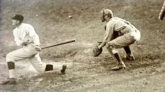 Walter Johnson hitting in Game 7 of the 1924 World Series.